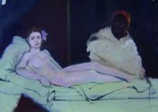 Versión de La Olimpia de Manet II. Óleo/cartón 105 x 75 cm 2003
